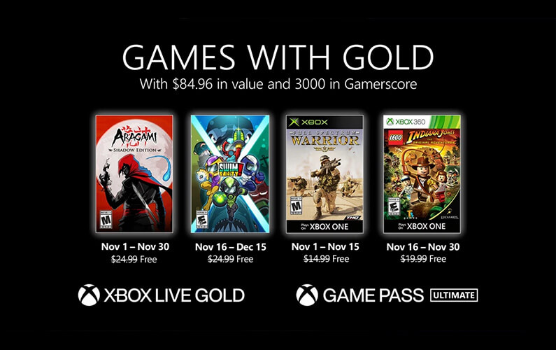 Games with Gold Νοέμβριος 2020