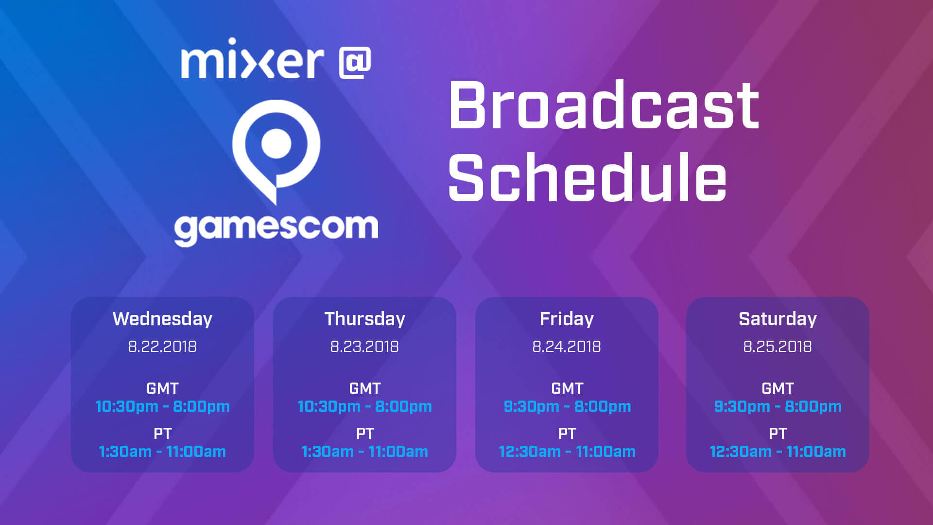 Mixer gamescom 2018 schedule